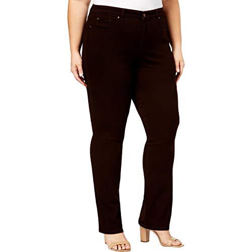 Charter Club Womens Plus Tummy Slimming Casual Straight Leg Pants Brown 18W