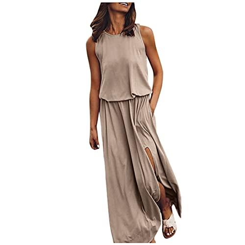 StarneA Sommerkleider Damen Lange Elegant, Lässiges Ärmelloses Tank Split Kleid Sexy Strandkleid Rundhals Maxikleider mit Taschen