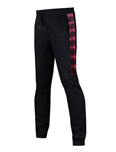SCREENSHOT SPORTS-P11972 Mens Premium Hip Hop Fashion Pockets Fleece Pants - Slim Athletic Jogger Fitness Workout Utility Sweatpants-BK/RD-Small