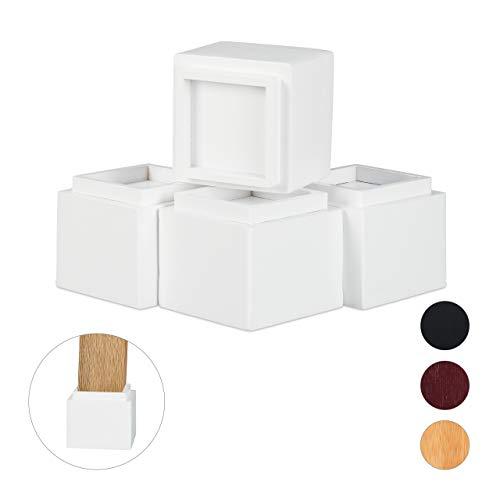 Relaxdays Möbelerhöher 4er Set, Erhöhung um 8,5 cm, für Tische, Stühle und andere Möbel, HxBxT 10x11,5x11,5 cm, weiß, 4 Stück