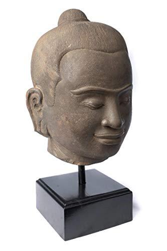 HD Asian Art Jayavarman Statue – Antiker Khmer-Stil montierter Stein Jayavarman VII Kopf – 42 cm/17