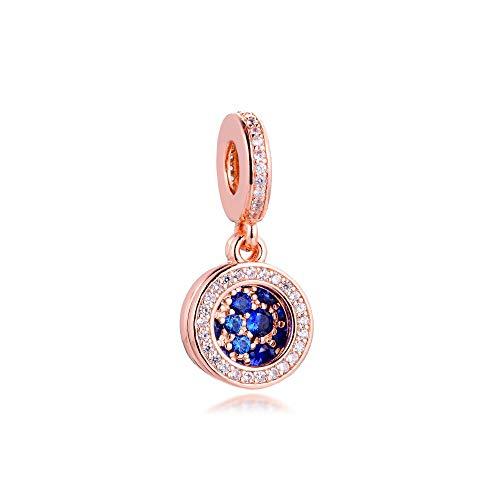 pandora 925 pulsera de la joyería azul natural del disco encantos granos de plata esterlina para las mujeres regalo