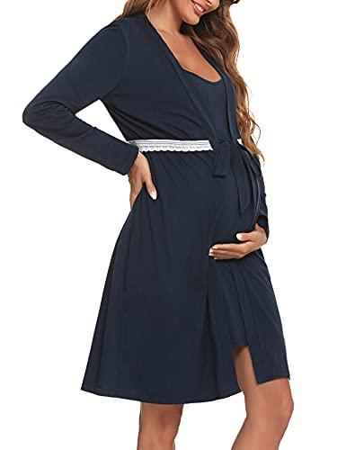 Aibrou Camisón Lactancia, Camisón Maternidad Algodon Bata y Camison Lactancia Verano Corto Ropa de Dormir Premamá Camison Lactancia Tirantes Pijama Embarazada Mujer