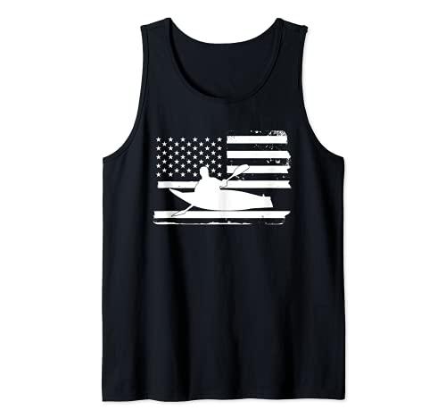 Gran Kayak Americano Bandera Kayak Kayak Kayak Camiseta sin Mangas