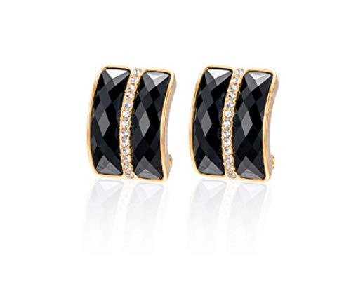 Pendientes de diamantes de imitación negros geométricos nobles y elegantes simples femeninos pendientes de plata pura 2021 nueva moda exquisitos pendientes brillantes que
