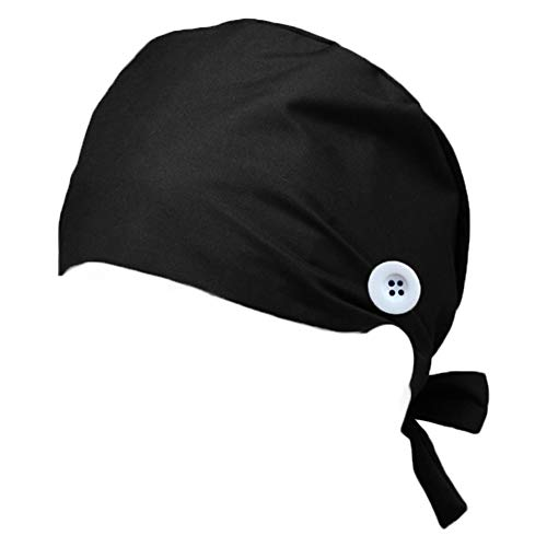 Hotme Women's and Men's Cap Working Hat with Button Sweatband Adjustable Tie Back Hats One Size Multiple Color (B-Black#1)