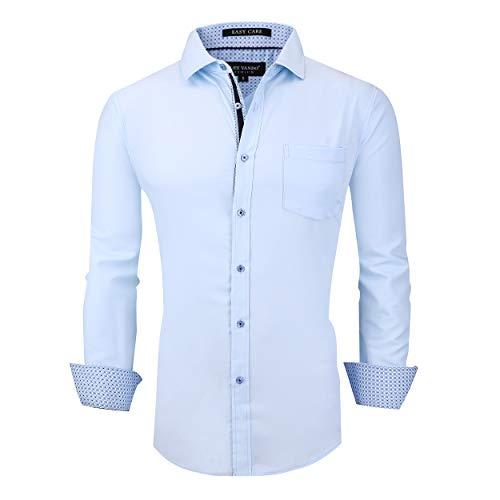 Alex Vando Mens Dress Shirts Wrinkle Free Regular Fit Stretch Bamboo Men Shirt,Blue,S