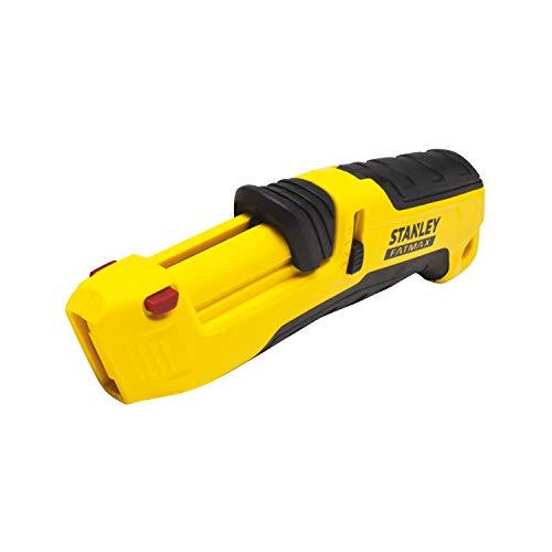 Stanley FMHT10365-0 Fatmax Sicherheitsmesser (mit 3-Seiten-Schieber, Kunststoff-Ausführung, vollautomatischer Klingeneinzug, werkzeugloser Klingenwechsel, inkl. 4 Klingen)