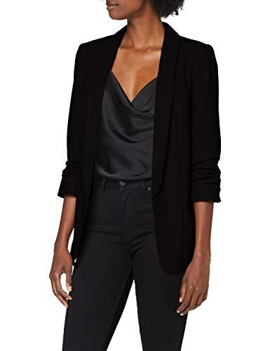 PIECES Damen PCBOSS 3/4 Blazer NOOS Anzugjacke, Schwarz (Black Black), 36 (Herstellergröße: S)
