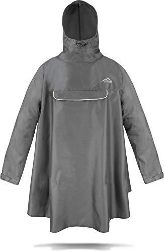 normani Regenponcho mit Ärmeln und Brusttasche für Damen und Herren [S-3XL] -YKK Brusttasche und 3M™ Scotchlite™ Reflektor Farbe Grau Größe S/M