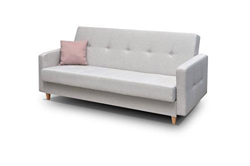 mb-moebel Couch mit Schlaffunktion Sofa Schlafsofa Wohnzimmercouch Bettsofa Ausziehbar - Perry (Hellgrau)