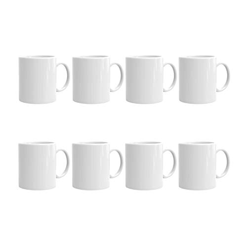 AQWJ-11oz Sublimation Blank Mugs Professional Grade Mugs White Coated Ceramic Cup for Coffee Tea or DIY Gifts,Set of 8