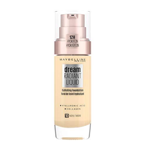 Maybelline New York Dream Radiant Liquid Make-up - flüssige Foundation mit Hyaluronsäure und Kollagen, Feuchtigkeitsspendend, mittlere Deckkraft, seidiges Finish, Nr. 10 Ivory, 30 ml