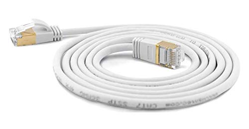 wantecWire Extra dünnes Patchkabel CAT.7 Kabel, CAT.6 Stecker SSTP geschirmt, Länge 0.25 m, weiß