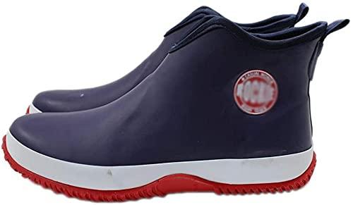 Waterdichte visserij Regenlaarzen Unisex Slip-on Lichtgewicht Voor Mannen en Dames Dames Rubber Schoenen Wellibob Wellington Boots Enkel Chelsea Booties Garden Shoes Green-Blauw_45 Evolution