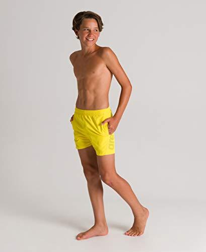 ARENA Jungen Badehose Boxer Fundamentals Logo Junior Badeshort, Yellow Star-Black-White, 164
