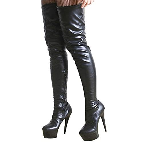5,9 Pulgadas Fetiche Sexy Poste Dancing 15 cm Rodilla de Las Botas Altas para Las Mujeres Zapatos de Stripper de la Plataforma Larga,E,45 EU