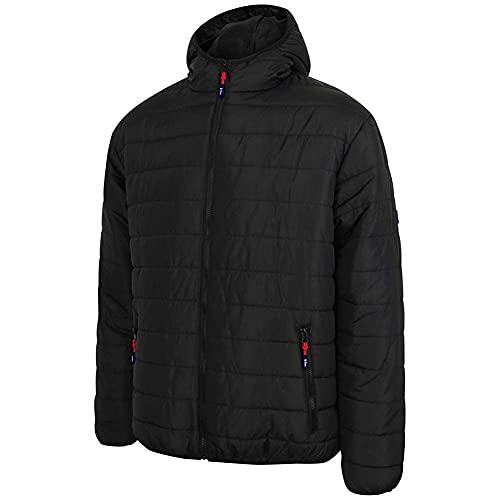 Lee Cooper LCJKT454 abbigliamento da lavoro Mens Full Zip termica abbigliamento da lavoro con zip con cappuccio imbottito trapuntato cappotto del rivestimento, nero, Media, m