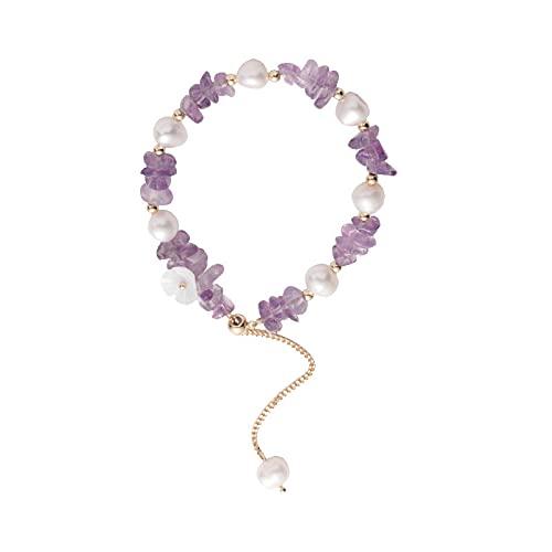 Pulsera de flores de perlas de moda pulsera de cristal irregular pulsera de temperamento pulsera.púrpura