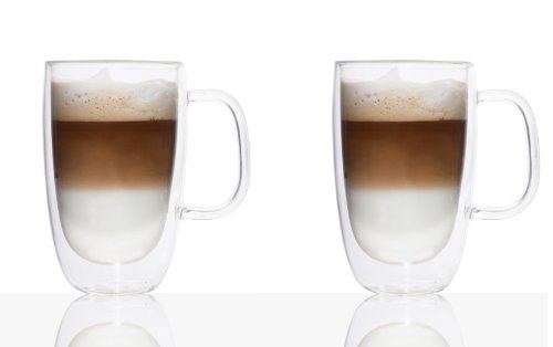 Double-Wall Glass Coffee Mug 325ml Set Of 2