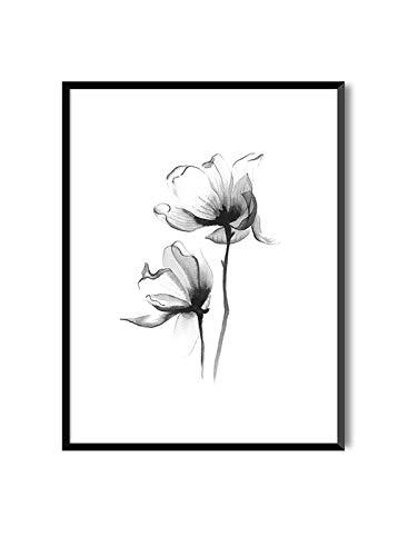 Decoratieve elegante afbeeldingen om in te lijsten | Posters van planten in Aquarel stijl | BLOOM | MAGNOLIA | 20 x 30 cm met zwarte lijst
