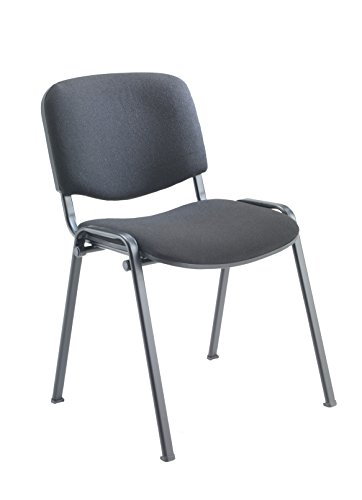 Office Hippo Heavy Duty Stackable Reception Chair, Black Frame, Fabric, Charcoal
