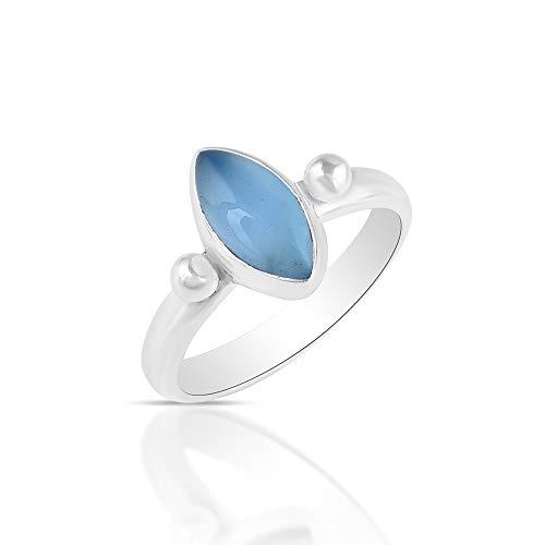 Sechi By Siblings Anillo solitario de plata de ley 925 con piedras preciosas de calcedonia azul