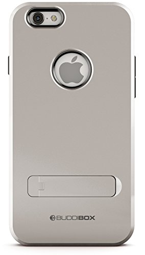 iPhone 6s Case, BUDDIBOX [Shield] Slim Dual Layer Protective Case with Kickstand for Apple iPhone 6 and 6s, (Silver)