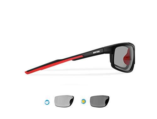 Bertoni P180FTC Occhiali Sport Polarizzati Fotocromatici per Ciclismo Running Pesca Nautica Golf - Naselli Regolabili