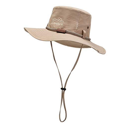 Zpuzge Sombrero de ala ancha, protección UV, sombrero de senderismo para verano al aire libre, gorra de pesca. caqui Talla única