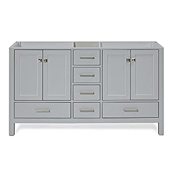ARIEL 60  Inch Double Sink Vanity Base Cabinet in Grey 4 Soft Closing Doors   6 Full Extension Dovetail Drawers   60  x 21.5  x 33.5  Inches