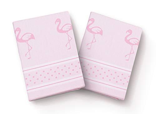 saewelo 2er Set Geschirrtücher | 100% Baumwolle, 50x70 cm | als Küchentücher, Baumwolltuch oder Trockentuch (Flamingos, Rosa)