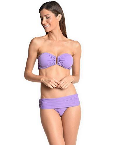 Embellished Bandeau Bikini Top in Quartz (Large)