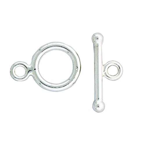Sterling Silver Plain 12mm Round Toggle Clasp, 1 Set (Toggle 1 Set)