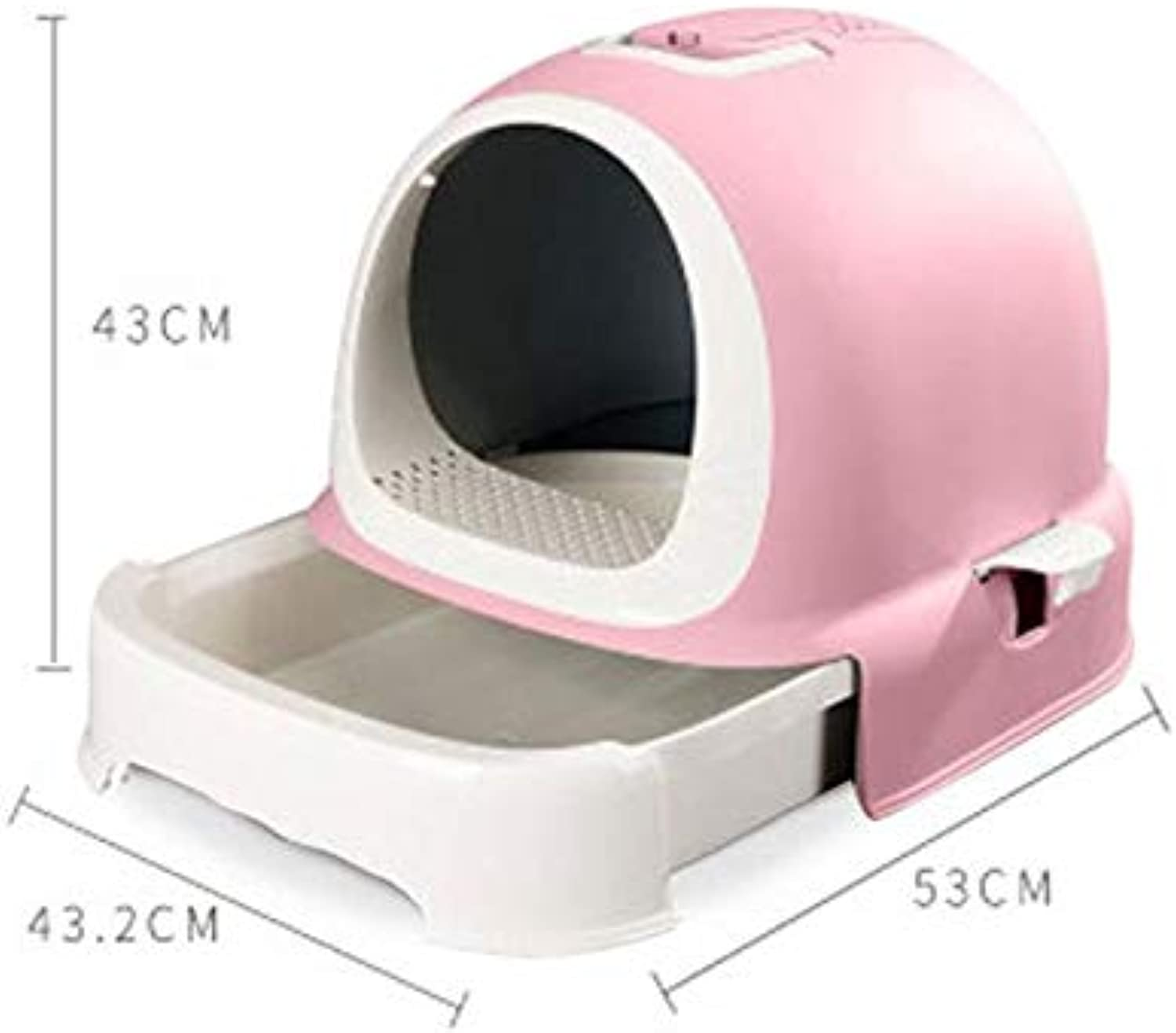 North cool Fully Enclosed Large Cat Litter Pot Deodorant Double Toilet Antisplash Extra Large Cat Sand Pot Cat Full Set (color   Pink)