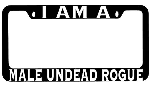 License Plate Frames, I Am A Male Undead Rogue Black METAL License Plate Frame RPG Applicable to Standard car Unisex-Adult Car Licenses Plate Covers Holders Frames for Plates 15x30cm