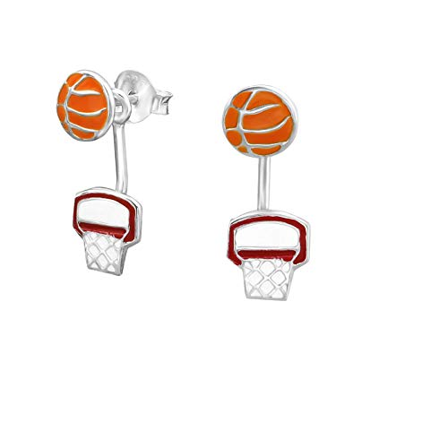 1 Paar Ohrringe Ohrstecker 925 Sterling Silber Ear Jacket mit Basketball und Korb