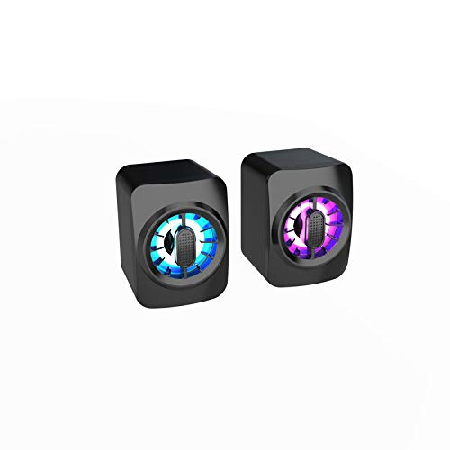 EGFheal Mini Computer Speakers,Portable Speaker Powerful Bass with RGB Light PC Stereo Speaker