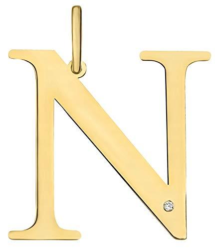 Colgante de mujer Zlocisto letra N 21 x 20 mm, muestra de oro amarillo 585 0,66 g, con diamantes talla brillante 0,005 ct H/Si Joyas de oro atemporales y elegantes en forma de letra