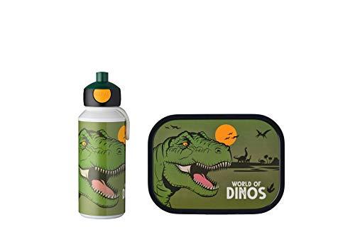 Mepal Pausenset Campus Dino – Trinkflasche und Brotdose mit Bento-Einsatz – ideal für Schule und Freizeit – spülmaschinenfest, ABS, 2-teilig