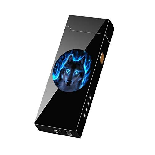 ZXYAN Plasma Briquet, USB électrique Briquet double arc rechargeable coupe-vent loup Long Life-bleu, pour les cigarettes de cuisine Barbecue Bougies