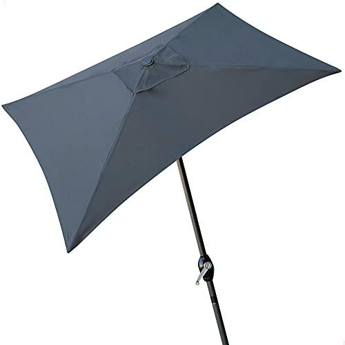 Aktive - Parasol rectangular Garden 1,2 x 2 metros - Mástil de aluminio 38 mm - Gris (ColorBaby 53880)