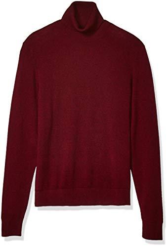 Amazon Brand - Buttoned Down Men's 100% Premium Cashmere Turtleneck Sweater, Burgundy, Medium