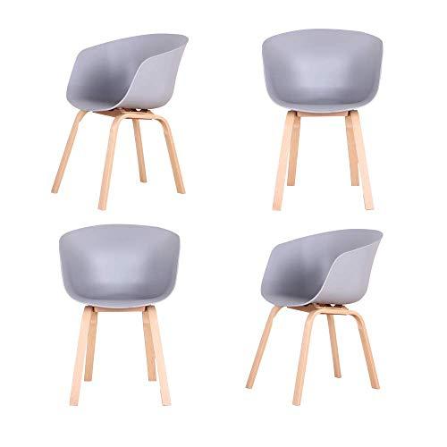 Set di 4 sedie ad angolo da pranzo sedia poltrone per la casa e l'ufficio (grigio con gambe in legno)