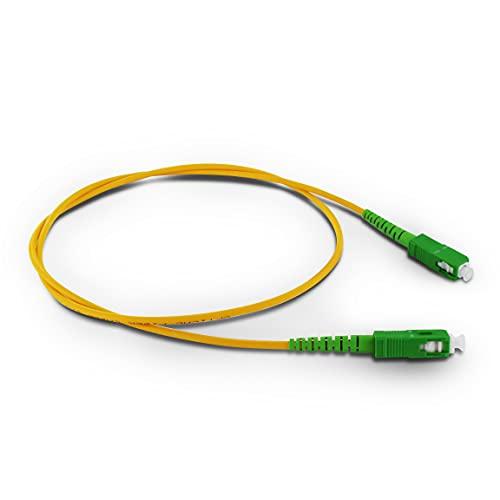 Metronic 370233 - Cable de Fibra óptica para Router, latiguillo Monomodo FTTH-9/125-G657A2-SC/APC-SC/APC-Compatible mayoría operadores: Movistar, Jazztel, Vodafone, Orange, 0,80 Metros
