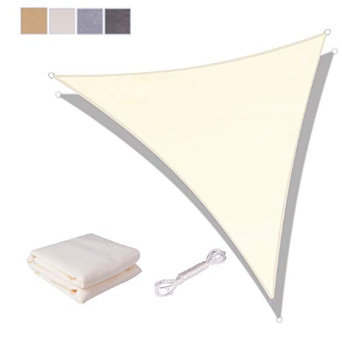 SUNNY GUARD Toldo Vela de Sombra Triangular 5x5x5m HDPE Transpirable protección UV para Patio, Exteriores, Jardín, Color Crema