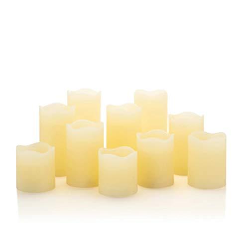 10 LED Echtwachskerzen mit Docht - Stumpenkerzen, Kerzen aus Echtwachs im Set mit Fernbedienung und Timer (Creme)