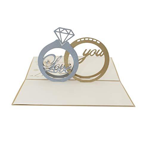 Outflower. 3D Tarjeta Felicitación Amantes, Invitación Boda - Diseño Forma Anillo Diamante Regalo San Valentin Tarjeta Postal Tridimensional Tarjeta de Regalo - Accesorios Bendición Creativo