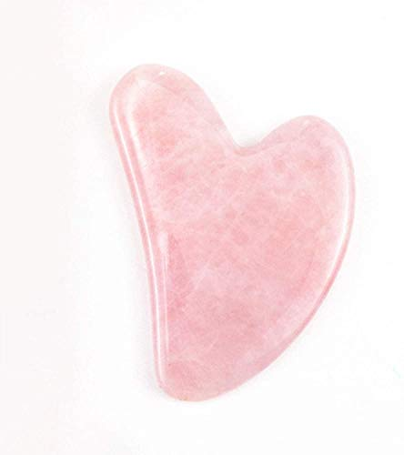 Jaderoller Natural Jade Gua Sha Scraping Massage Tool,Pink Rose Quartz GuaSha Board,Organic Anti-aging Beauty Therapy for Skin Rejuvenation,Traditional Guasha Scraper Tools for Relaxing Muscles on Face Neck Body