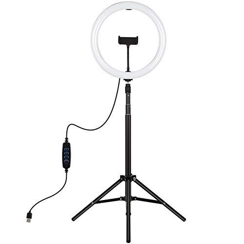 ZKHD 11,8 Zoll 30 cm licht + 1,65 mt stativ Montage gekrümmte oberfläche USB 3 modi dimmbare dabile Farbe temperatur led Ring vlogging Video licht live sendungskits mit telefonklammer